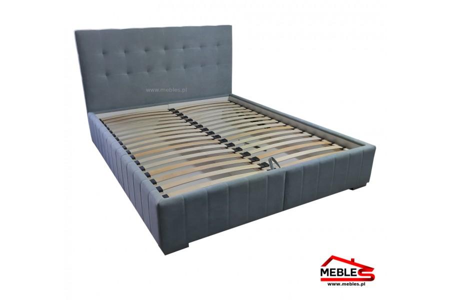 Łóżko Tapicerowane z Pikowanym Oparciem i Pojemnikiem